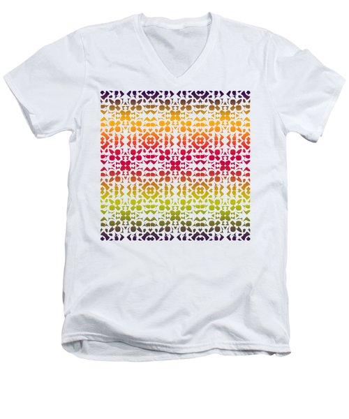 Batik Rustic Rainbow 200 - White Men's V-Neck T-Shirt