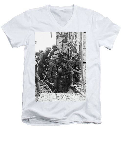 Battle Of Stalingrad  Nazi Infantry Street Fighting 1942 Men's V-Neck T-Shirt