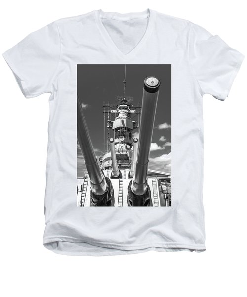 Men's V-Neck T-Shirt featuring the photograph Battleship Missouri by Colleen Coccia
