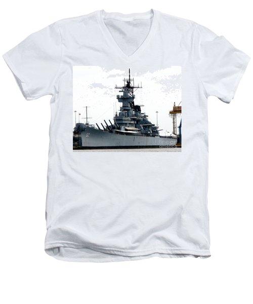 Battleship New Jersey Men's V-Neck T-Shirt by Kevin Fortier