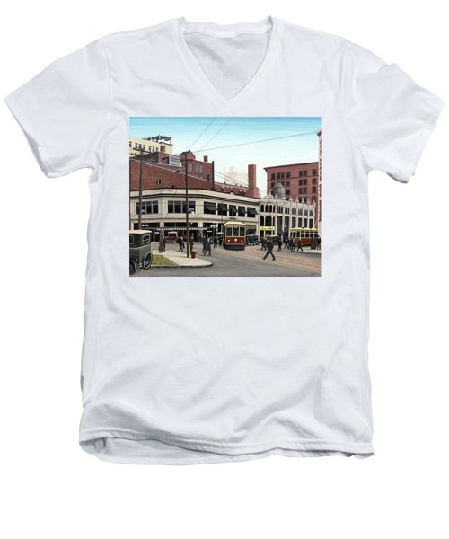 Men's V-Neck T-Shirt featuring the painting Bay And Queen Streets C1940 by Kenneth M Kirsch