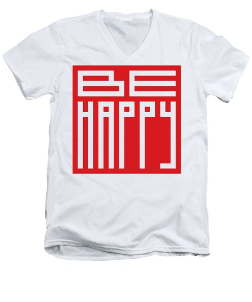 Be Happy Men's V-Neck T-Shirt