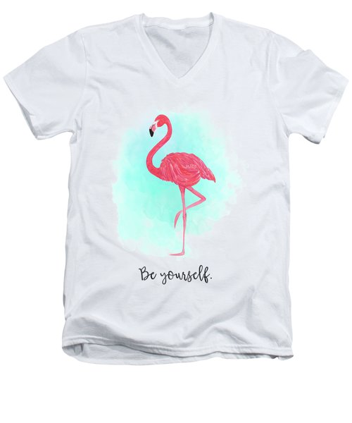 Be Yourself Flamingo Print Men's V-Neck T-Shirt by Donna Gilbert