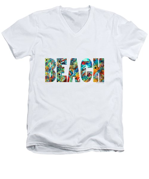 Men's V-Neck T-Shirt featuring the painting Beach Art - Beachy Keen - By Sharon Cummings by Sharon Cummings
