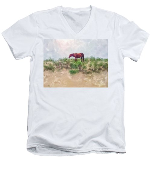 Men's V-Neck T-Shirt featuring the digital art Beach Boy by Lois Bryan