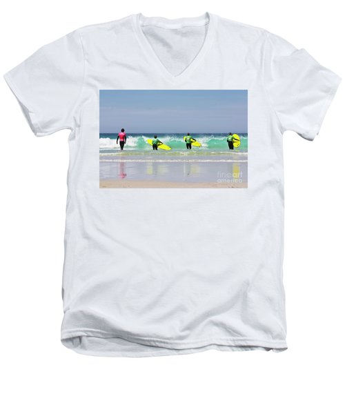 Men's V-Neck T-Shirt featuring the photograph Beach Boys Go Surfing by Terri Waters