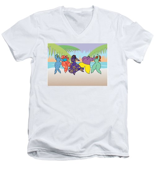 Beach Dancers Men's V-Neck T-Shirt