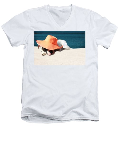 Men's V-Neck T-Shirt featuring the photograph Beach Day For Bubba by Shelley Neff