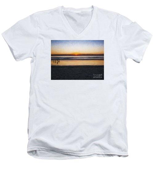 Beach Family  ... Men's V-Neck T-Shirt by Chuck Caramella