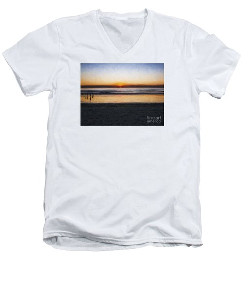 Beach Family  ... Men's V-Neck T-Shirt