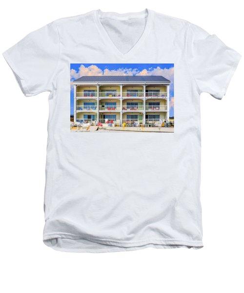 Beach Front Hotel Men's V-Neck T-Shirt by Robert FERD Frank