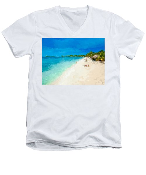 Beach Holiday  Men's V-Neck T-Shirt by Anthony Fishburne