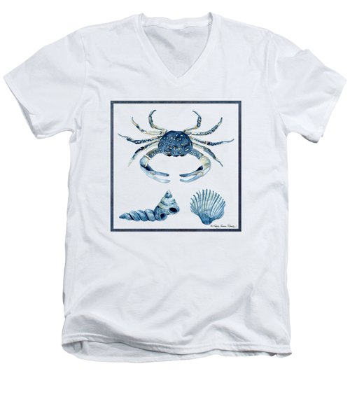 Beach House Sea Life Crab Turban Shell N Scallop Men's V-Neck T-Shirt