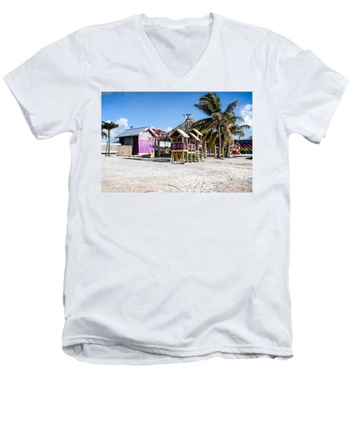 Beach Huts Men's V-Neck T-Shirt by Lawrence Burry