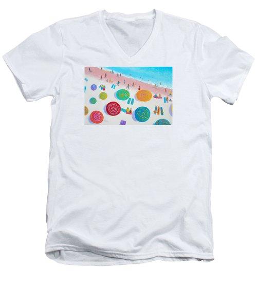 Beach Painting - A Walk In The Sun Men's V-Neck T-Shirt