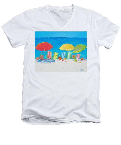 Beach Painting - Deck Chairs Men's V-Neck T-Shirt by Jan Matson