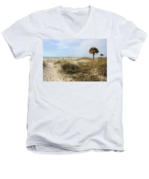 Beach Path Men's V-Neck T-Shirt by Angela Rath