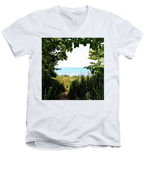Men's V-Neck T-Shirt featuring the photograph Beach Path With Snake Grass by Michelle Calkins