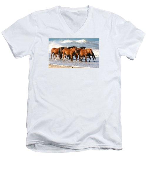 Beach Ponies Men's V-Neck T-Shirt by Robert Och