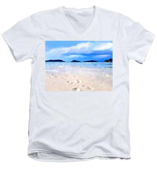 Men's V-Neck T-Shirt featuring the digital art Beach Walk by Anthony Fishburne