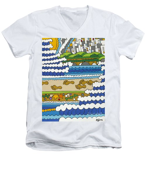 Beach Walk Foot Prints Men's V-Neck T-Shirt
