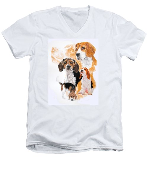 Beagle W/ghost Men's V-Neck T-Shirt by Barbara Keith