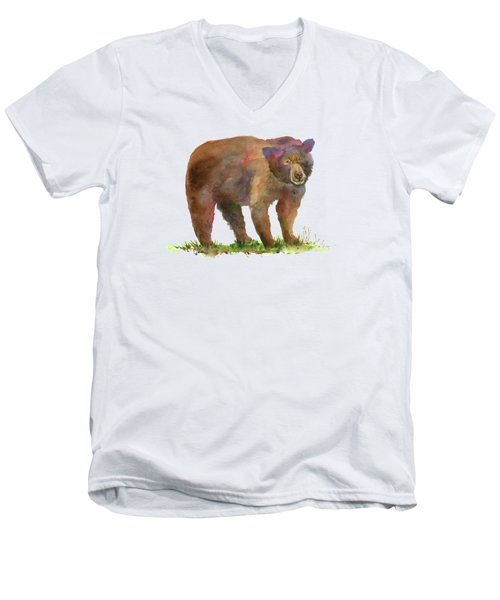 Bear Men's V-Neck T-Shirt by Amy Kirkpatrick