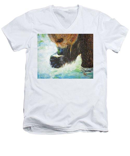 Bear Fishing Men's V-Neck T-Shirt