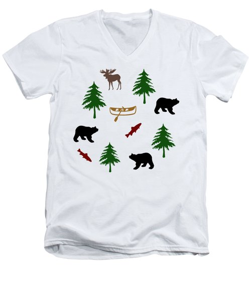 Bear Moose Pattern Men's V-Neck T-Shirt by Christina Rollo