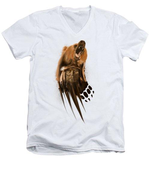 Bear Spirit  Men's V-Neck T-Shirt by Sassan Filsoof