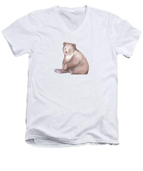 Men's V-Neck T-Shirt featuring the painting Bear Watercolor by Taylan Apukovska