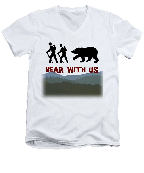 Bear With Us Men's V-Neck T-Shirt by John Haldane