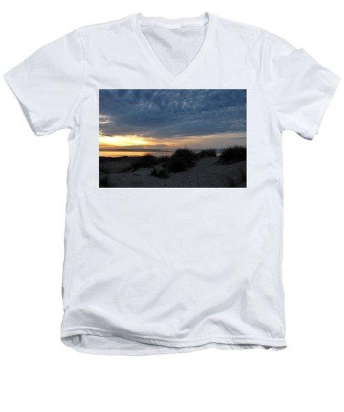 Beautiful Beach San Dunes Sunset And Clouds Men's V-Neck T-Shirt by Matt Harang