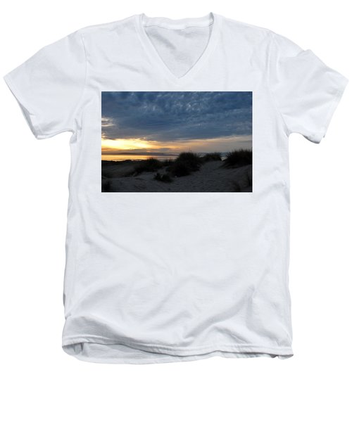Beautiful Beach San Dunes Sunset And Clouds Men's V-Neck T-Shirt