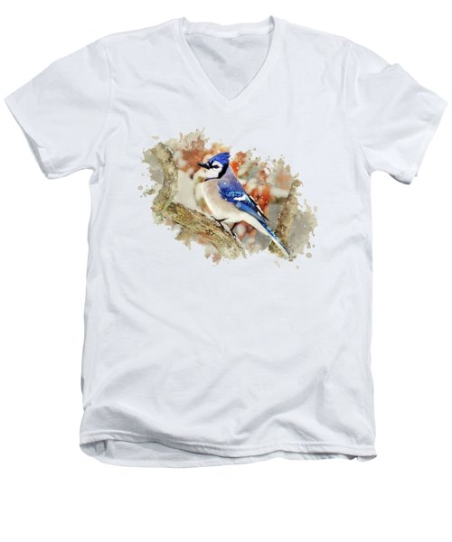 Beautiful Blue Jay - Watercolor Art Men's V-Neck T-Shirt by Christina Rollo