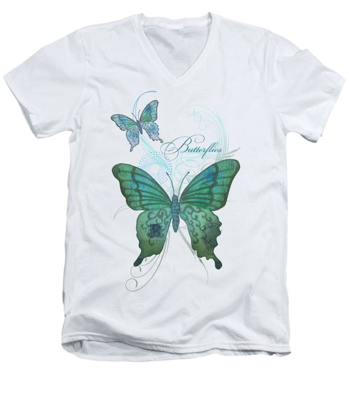 Beautiful Butterflies N Swirls Modern Style Men's V-Neck T-Shirt by Audrey Jeanne Roberts