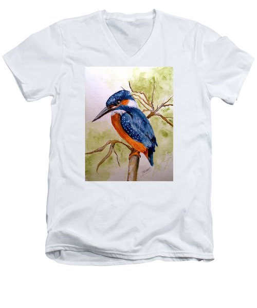 Beautiful Kingfisher Men's V-Neck T-Shirt by Carol Grimes