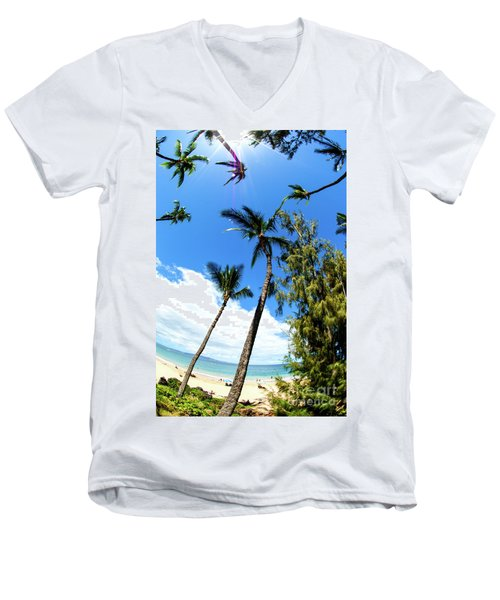 Men's V-Neck T-Shirt featuring the photograph Beautiful Palms Of Maui 17 by Micah May