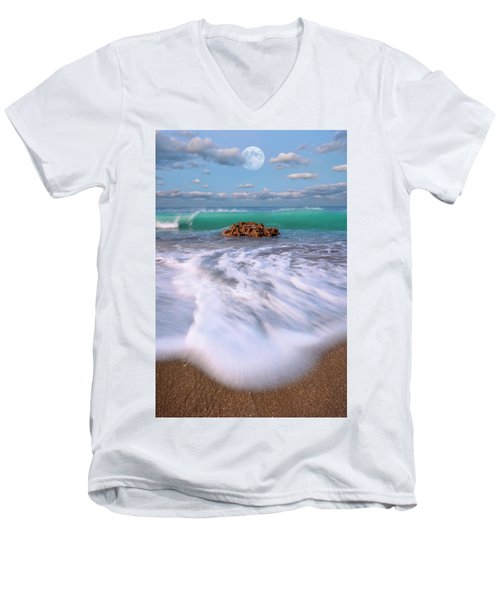 Beautiful Waves Under Full Moon At Coral Cove Beach In Jupiter, Florida Men's V-Neck T-Shirt by Justin Kelefas
