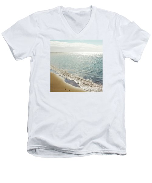 Men's V-Neck T-Shirt featuring the photograph Beauty And The Beach by Sharon Mau