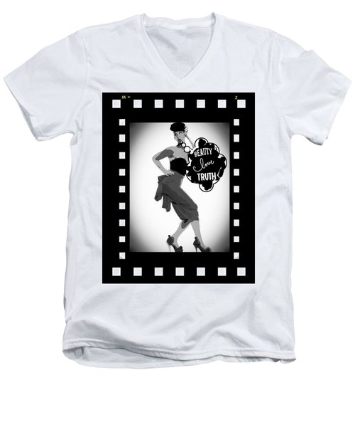 Men's V-Neck T-Shirt featuring the photograph Beauty Love Truth by Lisa Piper
