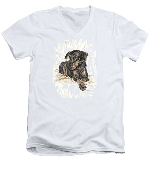 Men's V-Neck T-Shirt featuring the drawing Beauty Pose - Doberman Pinscher Dog With Natural Ears by Kelli Swan