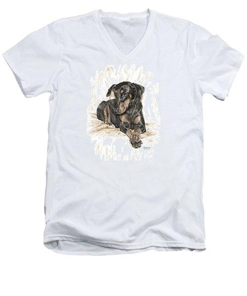 Beauty Pose - Doberman Pinscher Dog With Natural Ears Men's V-Neck T-Shirt