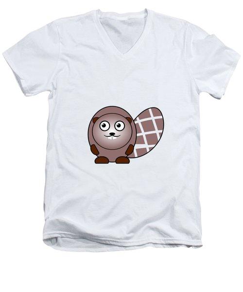 Beaver - Animals - Art For Kids Men's V-Neck T-Shirt by Anastasiya Malakhova