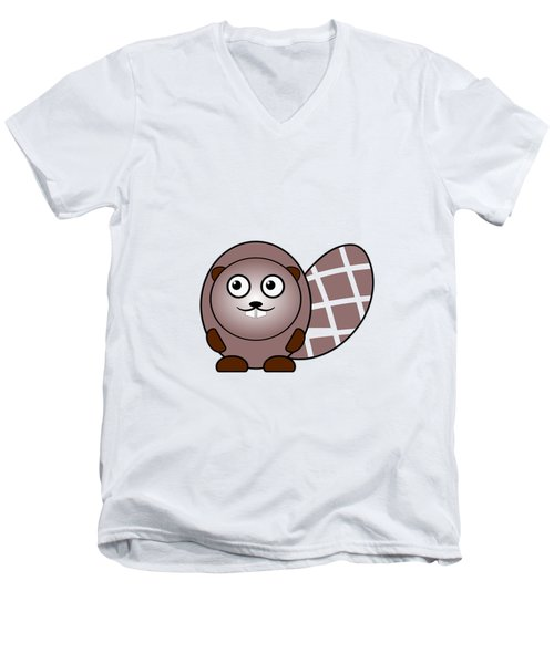 Beaver - Animals - Art For Kids Men's V-Neck T-Shirt