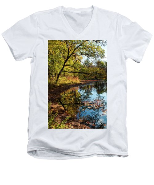 Beaver's Pond Men's V-Neck T-Shirt by Iris Greenwell