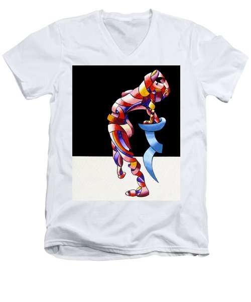 Men's V-Neck T-Shirt featuring the painting Becca 208-08 by Mark Webster