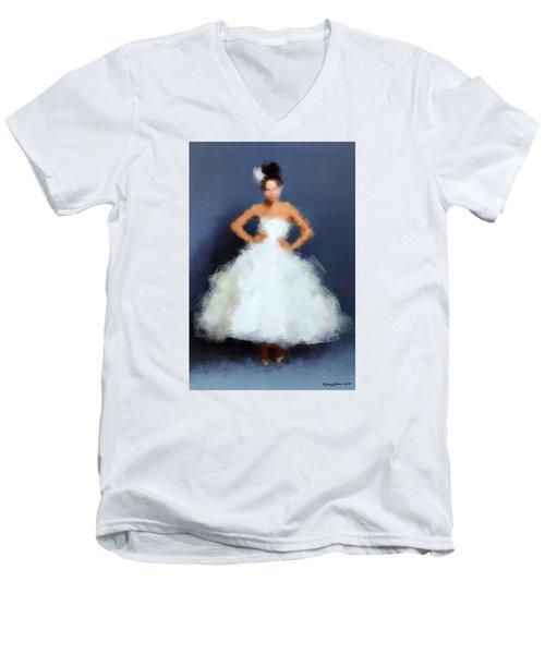 Men's V-Neck T-Shirt featuring the digital art Becky by Nancy Levan