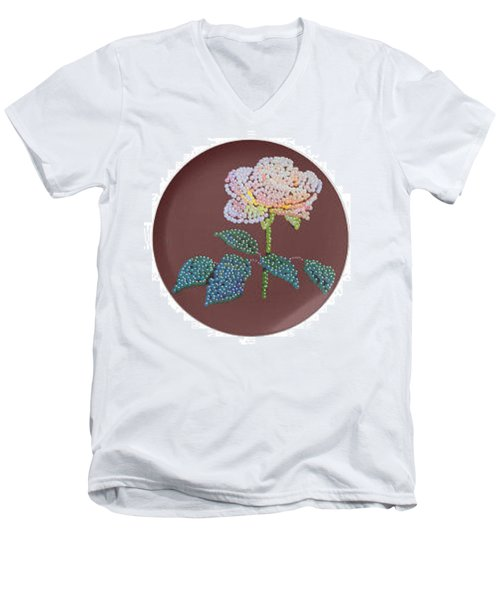 Men's V-Neck T-Shirt featuring the digital art Bedazzed Rose Plate by R  Allen Swezey