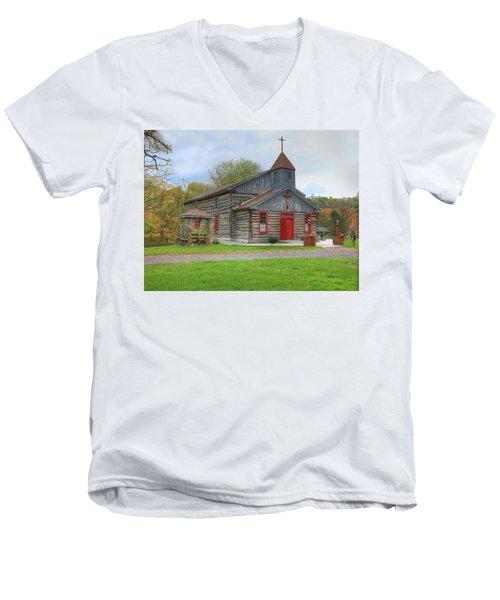 Men's V-Neck T-Shirt featuring the digital art Bedford Village Church by Sharon Batdorf
